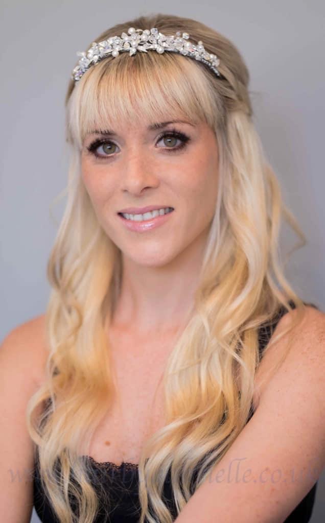 Bride at hair and makeup trial wearing tiara