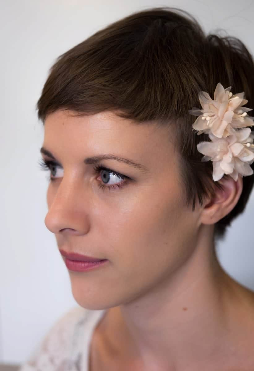 Summer bride with pixie cut