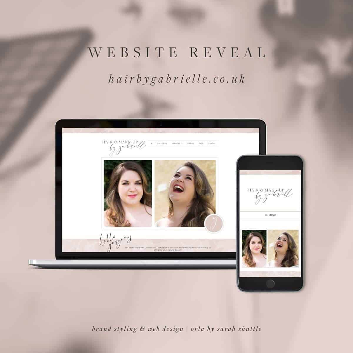 Web and mobile site reveal for Hair By Gabrielle designed by Sarah Shuttle