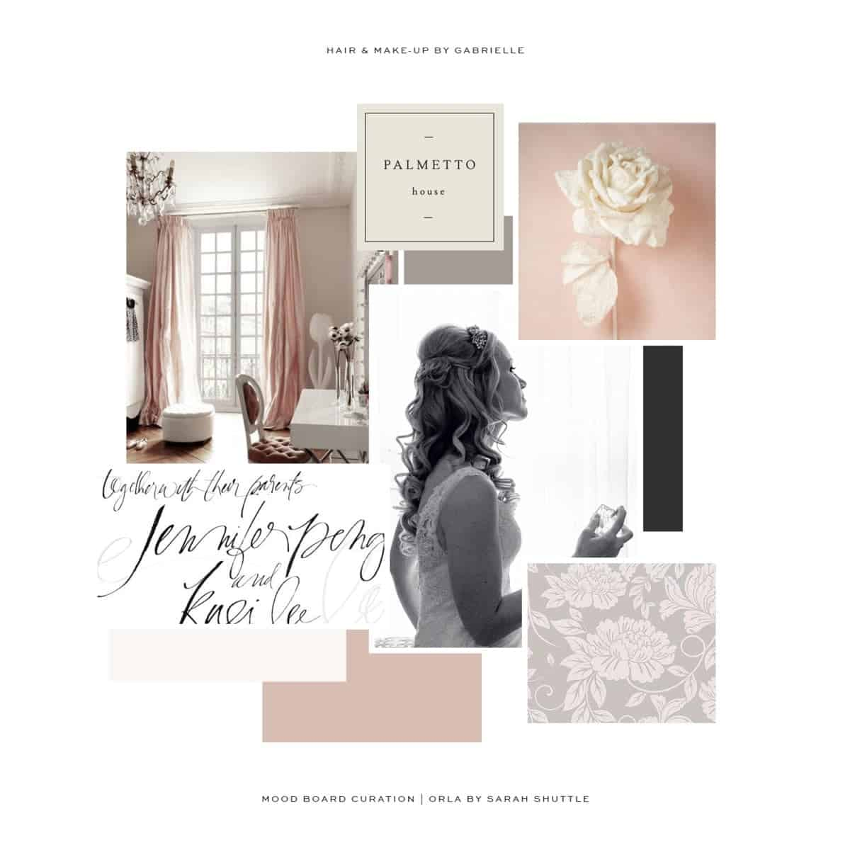 Moodboard of cream and dusky rose for Hair by Gabrielle, designed by Sarah Shuttle