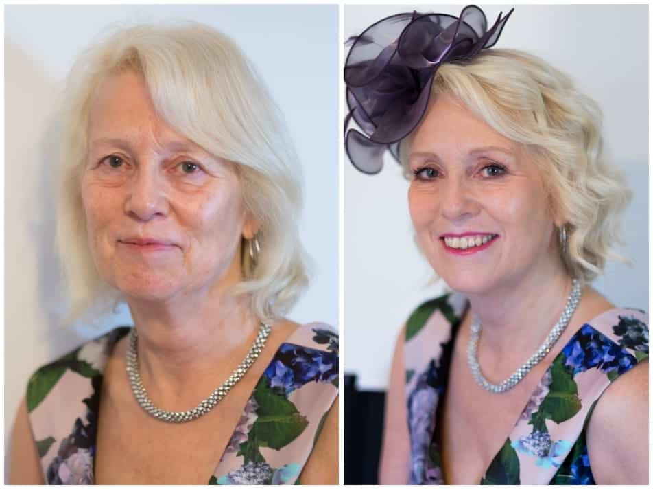 Before and after makeover experience shots of older lady in fascinator