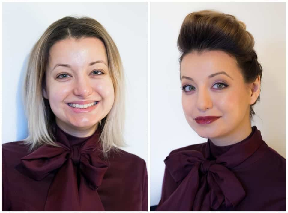 Before and after makeover shots of woman with edgy updo and dark red lipstick