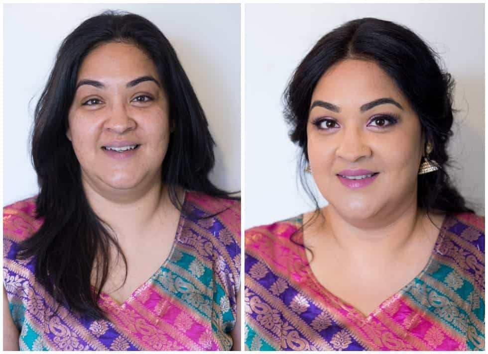 Before and after makeover shots of Indian woman in sari