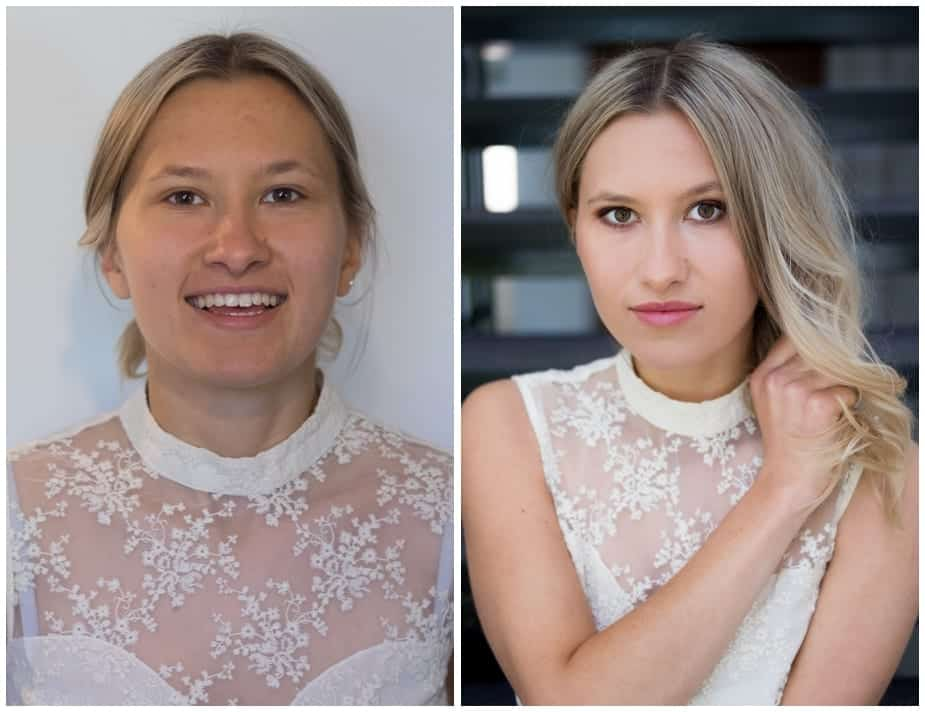 Before and after makeover shots of blonde woman in white lace top