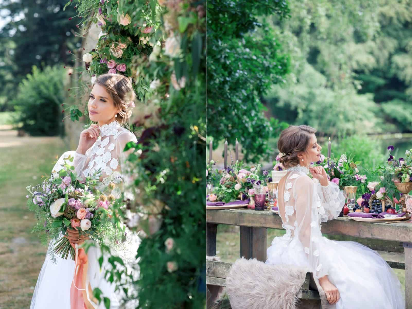 Bridal model wears Kate Edmondson Bridal bespoke dress and carries flowers by Ivy Amelia Florals