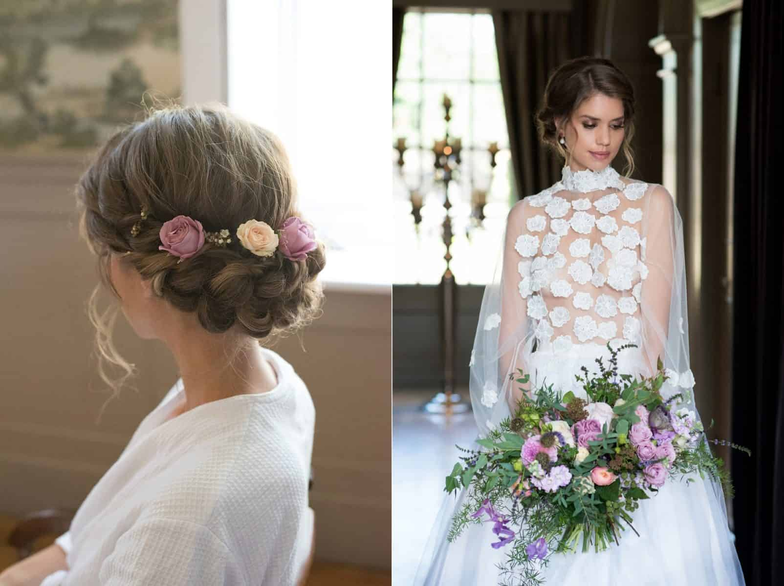 Close up of plaited hairstyle for romantic styled shoot