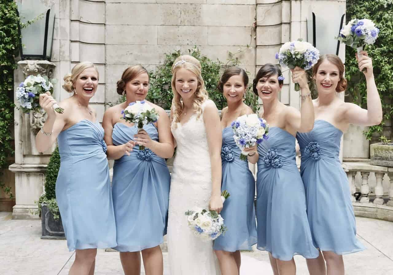 All in blue bridesmaids